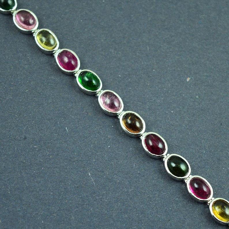 Stacking Bracelet 925 Sterling Silver Tourmaline bracelet Fine jewelry Anniversary present Dainty jewelry Tourmaline gemstone jewelry