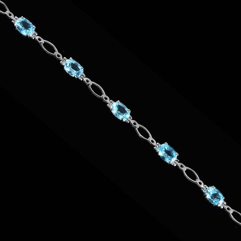 Tennis bracelet Natural blue topaz Elegant gift Amazing bracelet for wedding, Blue topaz jewellery 925 sterling silver bracelet for her