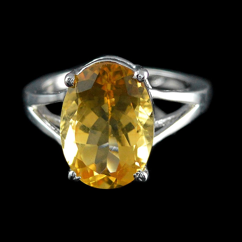 Birthstone Ring Citrine Ring Natural Yellow Citrine Silver Ring Proposal Ring Yellow Ring, Dainty Ring 925 Sterling Silver Ring