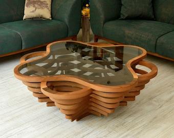 Wood Coffee Table, Natural Walnut Coffee Table, Custom Designed, Modern Coffee Table, Wood Art, Coffee Table, Handmade, Solid Coffee Table