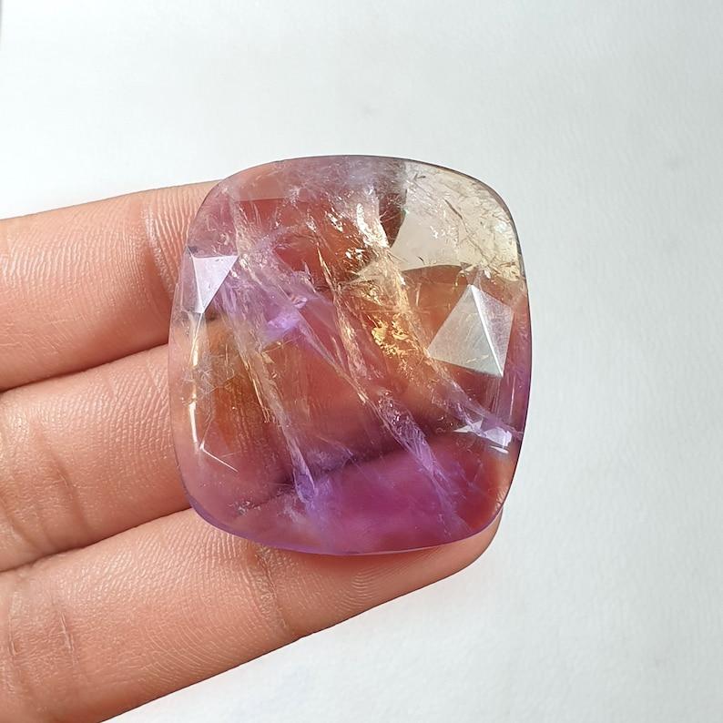 40x36x10-MM Natural Ametrine Stone Faceted Gemstone Cushion Shape Ametrine Jewelry Cut Ametrine Back Side Flat For Wire Wrapped Pendant