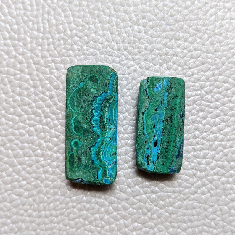Magnificent 2 Pieces Rectangle Lot 54-CT Natural Chrysocolla Malachite Beads Chrysocolla Cabochon Loose Crystal Halloween Surprise Jewelry