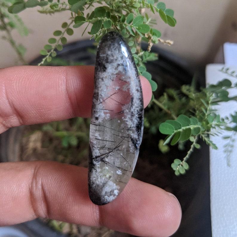 Smooth Cabochon 50x15x7-MM Rutilated Lodolite Quartz Garden quartz shaman quartz scenic quartz lens quartz tumbled chlorite quartz