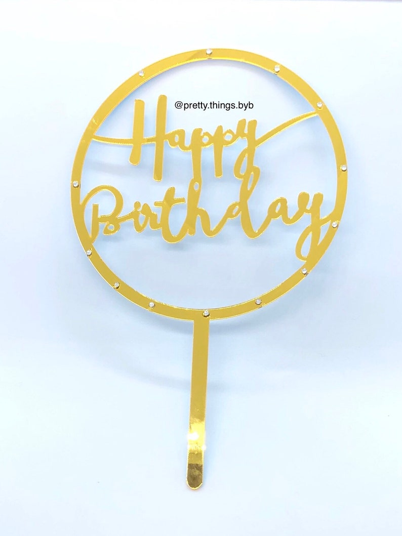 Cake topper Gold Decorations Gift Birthday Decoration Round Happy Birthday Cake Topper Party Decoration Cake Decoration