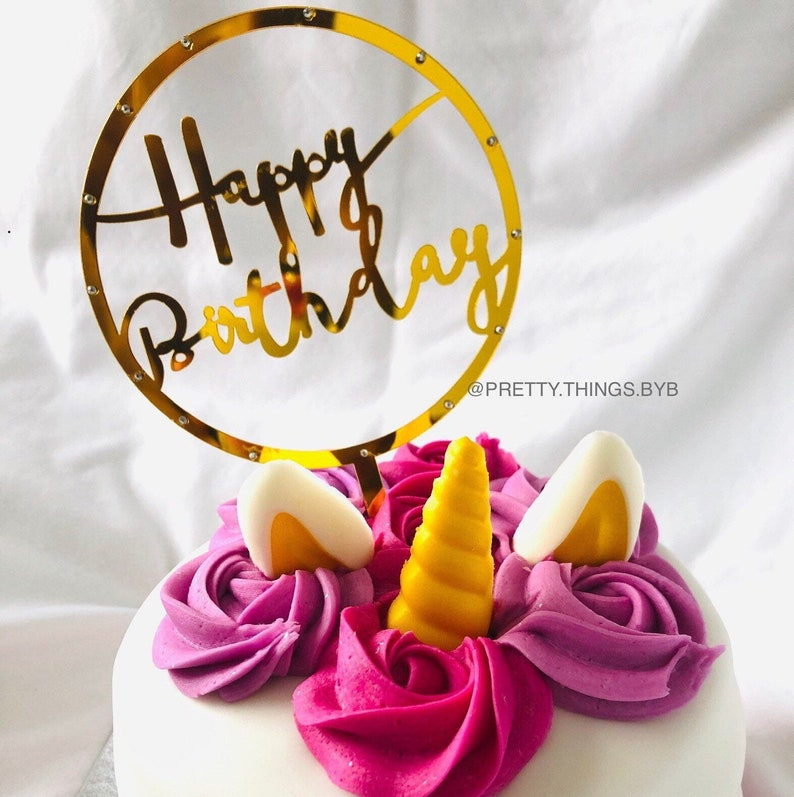 Gift Cake topper Cake Decoration Gold Decorations Birthday Decoration Round Happy Birthday Cake Topper Party Decoration