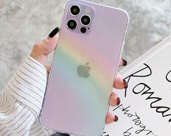 Rainbow Transparent Phone Case For Iphone 13,iPhone 13 pro, iphone 13 pro max 11 12pro Max Xr X Xs Max 7 8 Plus 11 12pro Square Bumper Case
