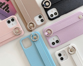 Luxury Wrist Strap Leather Stand Holder Phone Case For Iphone 11 11pro 12 12pro 13 13pro Max X Xs Max Xr 7 8plus Cover Capa