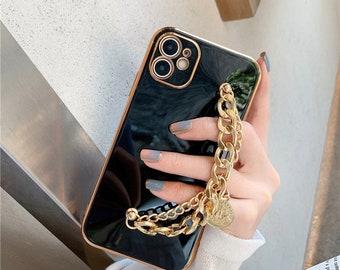 Goddess Metal Chain Bracelet Plating Case For iPhone 13 13 Pro Max case, 13 mini case, 11 XR case, X XS Max Case, 7 8 Plus case Se 2020