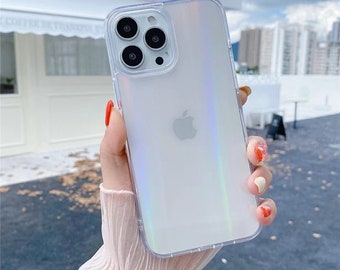 Gradient Laser Transparent Glass Phone Case For Iphone 11 12pro 13 13pro Max 12 Pro X Xr Xs Max Se2020 7 8 Plus Back Cover
