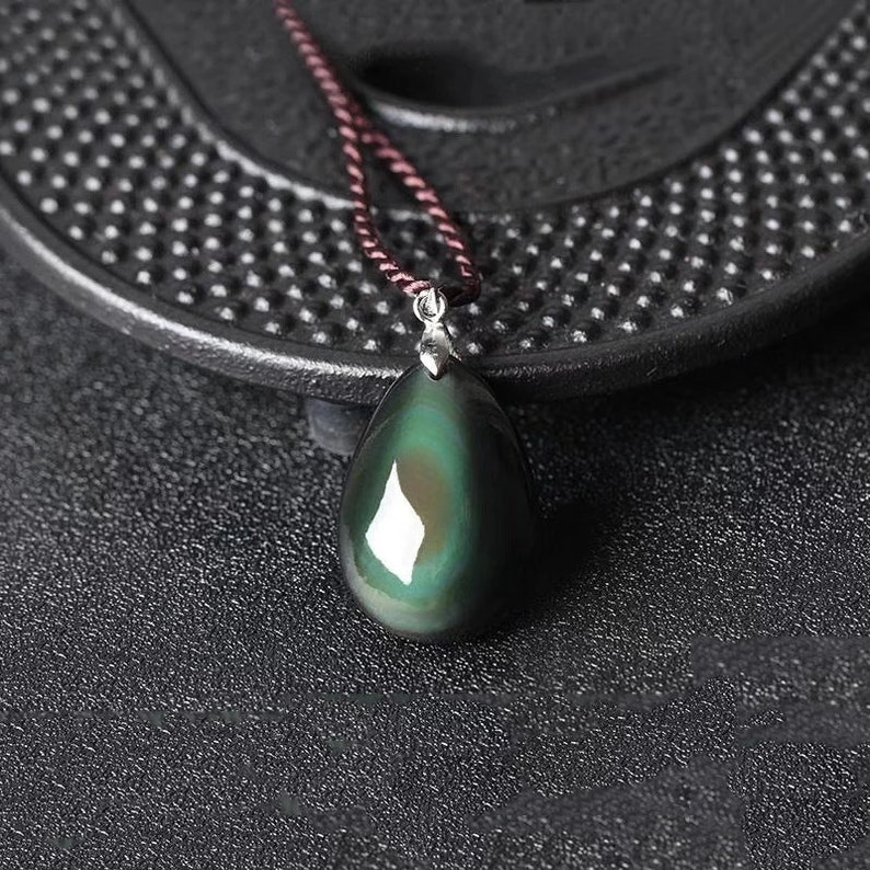Minimal Pendant Mens Womens Obsidian Pendant Gift For Him Natural Obsidian Water Drop Pendants Rope Necklaces Gift For Her