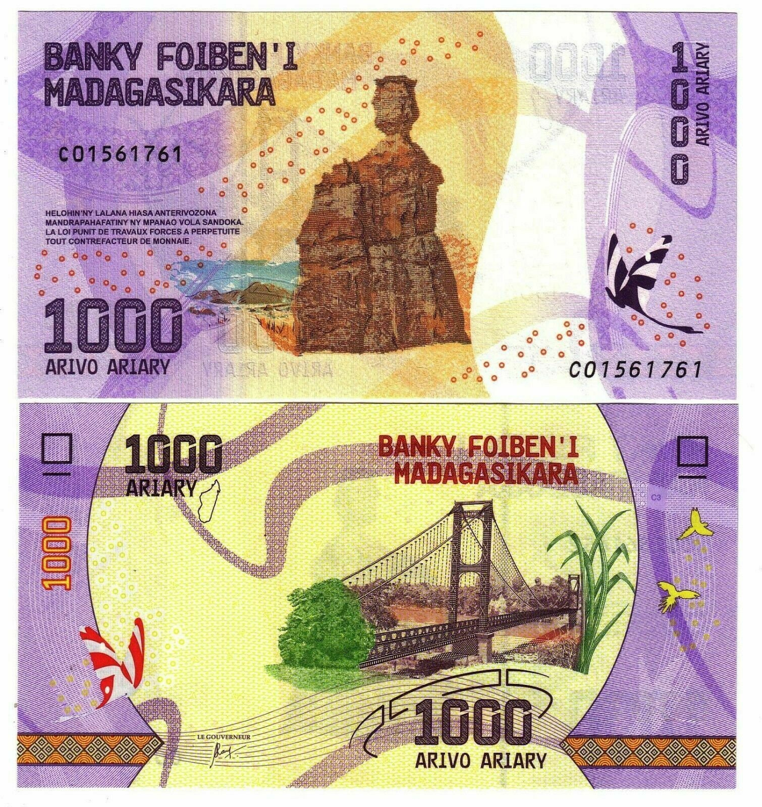 Madagascar Banknote 500 Ariary Banknote from Madagascar Paper Money from Africa Bankfresh UNC.