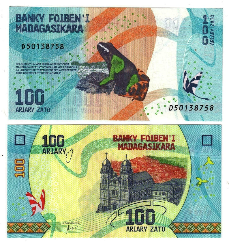 Madagascar Banknote 100 Ariary Banknote from Madagascar Paper Money from Africa Bankfresh UNC.