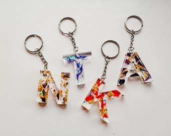 Custom Resin Initial Keychains