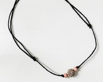 1N-561 HANDMADE Genuine Leather Sliding Knot Adjustable Cord Choker Necklace