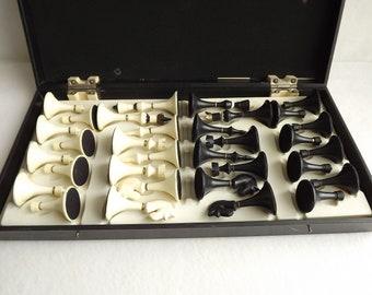 Vintage chess set, Unique chess set, Large chess set