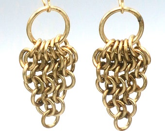 14k gold-filled chainmail earrings Euro 4-in-1 triangles with rings