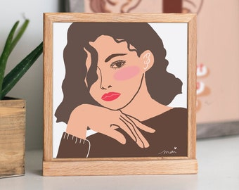 square girl power poster, aesthetic and abstract art, woman with red lips digital print, femme fatal for home decoration
