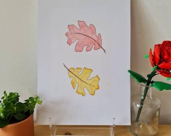 Opposing Oak Leaves - Print