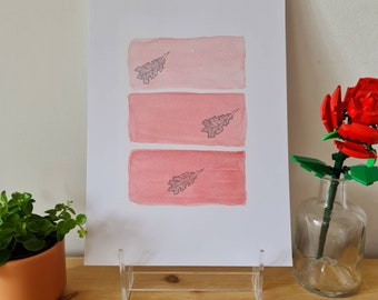 Abstract Oak Leaves Trio - Watercolour and Ink - Print