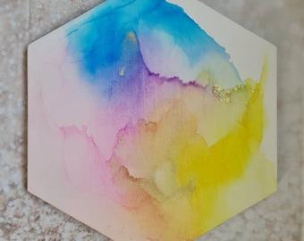 Alcohol ink painting - 30cm hexagonal canvas - original