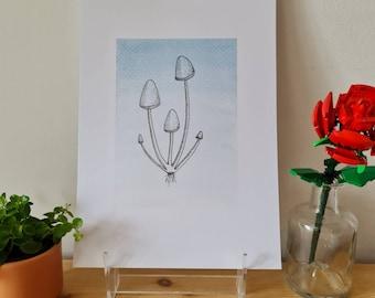 Blue Enoki Mushrooms - Watercolour and Ink - Print