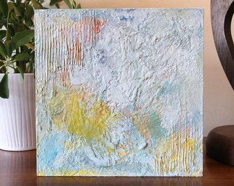 "Original Painting - Encaustic Wax on 8""x8"" Wood Panel. Handmade Art by Japanese Artist Living & Working in NYC."