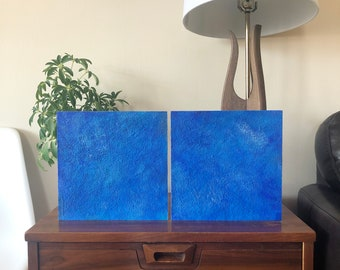 """Original Painting - Encaustic Wax 10""""x20"""" Diptych (On two 10""""x10"""" Wood Panels). Handmade Art by Japanese Artist Living & Working in NYC."""