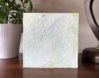 "Original Painting - Encaustic Wax on 6""X6"" Wood Panel. Handmade Art by Japanese Artist Living & Working in NYC."