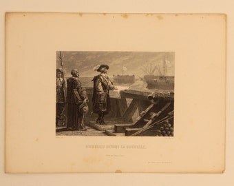 1800s French Antique Etching of Diane de Poitiers printed in Paris on hand made paper Free Shipping Width 7.5 in Height 10.5 in