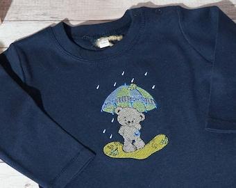 embroidered shirt, baby shirt, shirt with embroidery, shirt embroidered, bear with umbrella, gift for birth, birthday shirt children, shirt, bear,