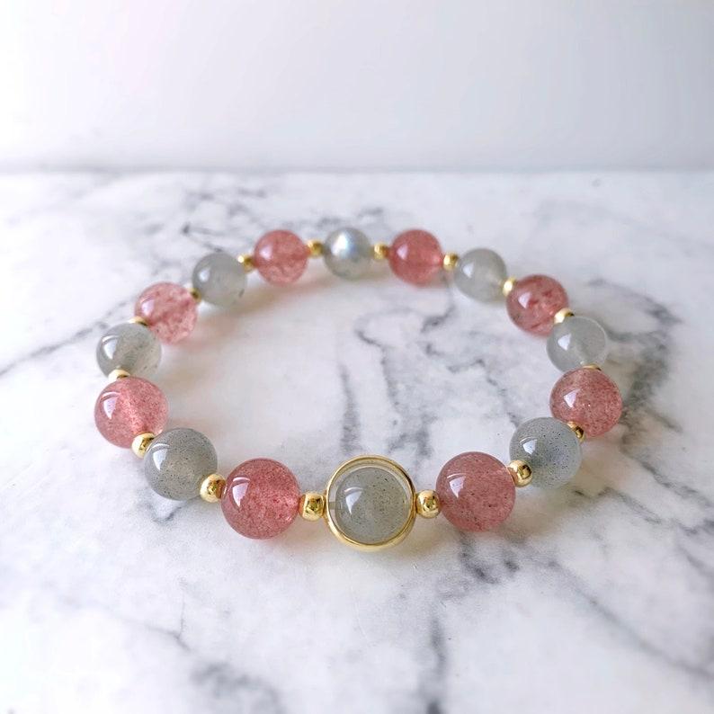 Genuine Gemstone Healing Bracelet Crystal Bracelet Gold Bracelet Blue Light Labradorite Bracelet Labradorite Strawberry Quartz Bracelet