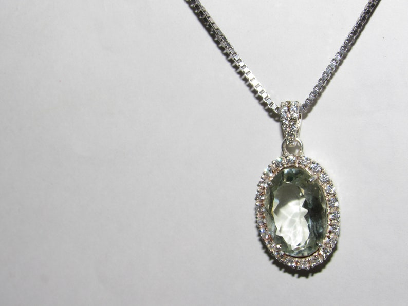 Superb Green Amythest Pendant~.925 Sterling Silver Setting~Round  Cut~Genuine Natural Mined,Handcrafted Gemstone