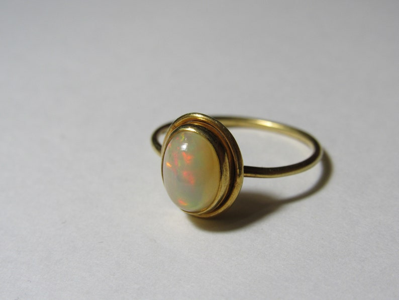 Opal Ring US Size 8.25 Gift for Her Opal Gemstone Ring Sterling Silver Opal Ring Opal Jewellery White Opal With Gold Polish