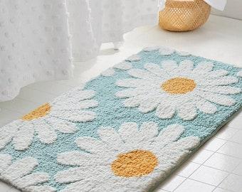 Daisy Bathroom Mat Nordic Fluffy Carpet Area Rug Bath Room Floor Floral Absorbent Anti Slip Pad Bathmat Doormat Home Decor