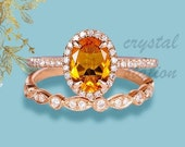 Oval Citrine Wedding Ring Set in Sterling Silver, Anniversary Ring, Eternity Band, Citrine Ring, Gift for Her