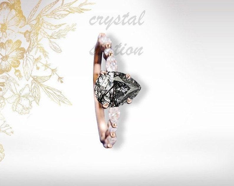 Pear Black Rutilated Quartz Engagement Ring-Rose Gold Plated Matura Diamond Ring-Wedding Set-Vintage Anniversary Gift