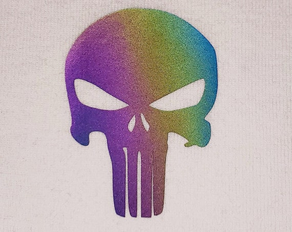Holographic Reflective Punisher Heat Transfer for your shoes shirt pants iron on patch the
