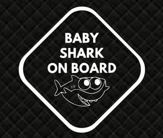 Baby Shark On Board Footprints Decal - Sticker For Your Car Truck phone or Window