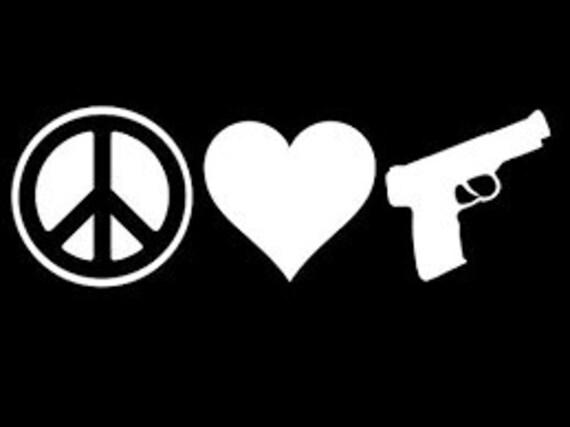 Peace Love Guns Decal Sticker For Your Car Truck SUV Van Phone Wall Trump Trudeau Fuck Gun Control