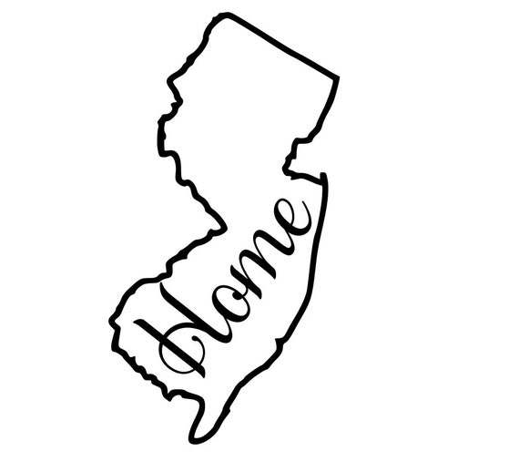 Jersey with or without Home Map Decal Sticker for your car truck suv van wall phone window rv trailer state
