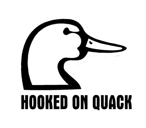 Hooked On Quack Funny Duck decal sticker for Car truck suv van phone Window, Bumper, Mirror, Mudlap Laptop yeti hunting hunt hunter