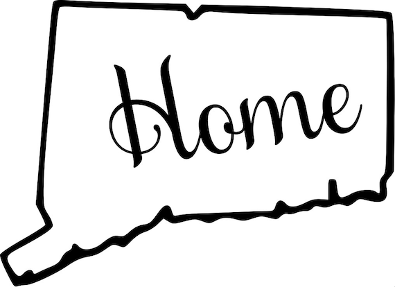 Conneticut with or without Home Map Decal Sticker for your car truck suv van wall phone window rv trailer state