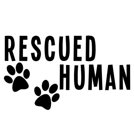 Rescued Human Decal Sticker for your car truck van suv window bumper ideas adopt dog Rescue Mom Dad