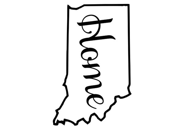 Indiana with or without Home Map Decal Sticker for your car truck suv van wall phone window rv trailer state