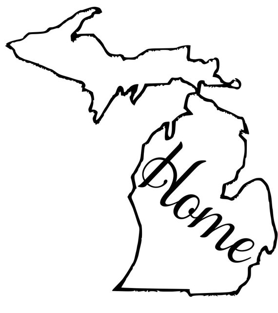 Michigan with or without Home Map Decal Sticker for your car truck suv van wall phone window rv trailer state