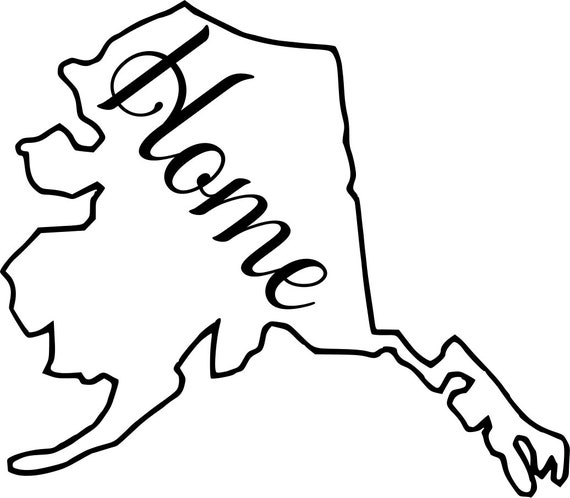 Alaska Home Map Decal Sticker for your car truck suv van wall phone window rv trailer state