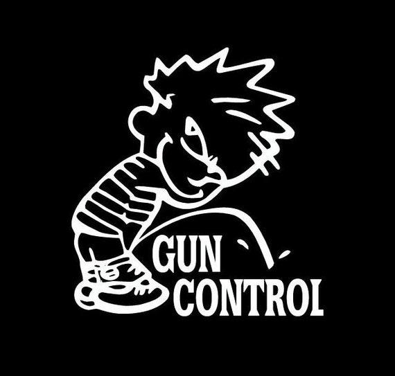 Calvin Pissing On Gun Control Decal Sticker For Your Car Truck SUV Van Phone Wall Fuck Gun Control Trump Trudeau