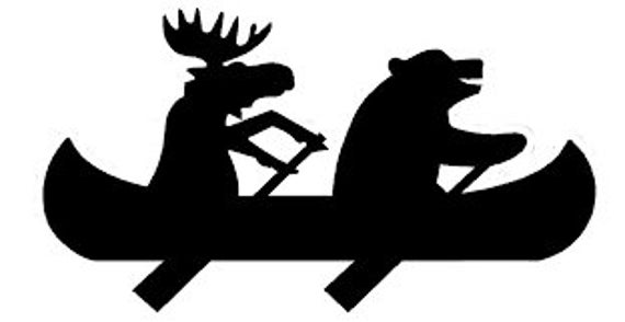 Moose Bear Canoe Camping Outdoors Decal - For Your Car Truck RV Camper Travel Trailer