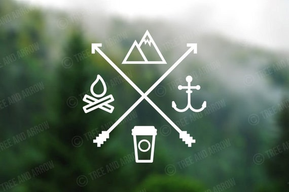 Campfire Coffee Fishing and Mountains Decal - Sticker For Your Car Truck phone or Window