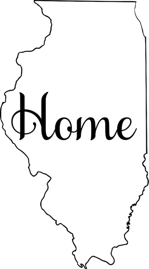 Illinois with or without Home Map Decal Sticker for your car truck suv van wall phone window rv trailer state